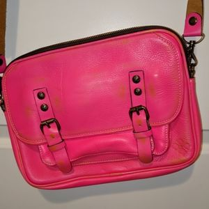 Distressed pink Patricia Nash leather crossbody